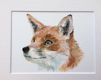 "Fox 12"" x 10"" Original watercolour painting"
