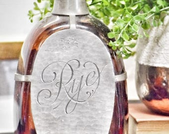 Antique Handcrafted Glass & Metal Rye Bottle