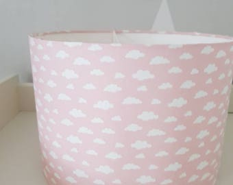 Handmade pink and white cloud lampshade