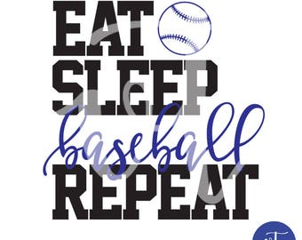 Eat Sleep Baseball Repeat Decal; Vinyl Decal; Baseball