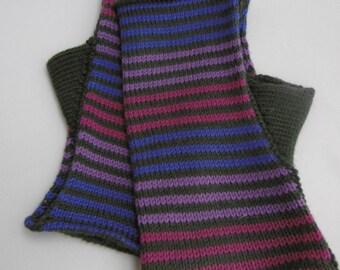 Fingerless gloves, wristwarmers, stripes, cerise, purple green lilac, Merino wool, machine washable,  warm, practical, fun, smart