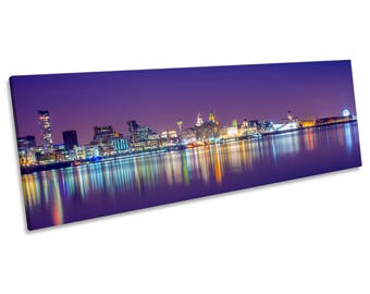 Liverpool Merseyside Purple Skyline CANVAS WALL ART Panoramic Framed Print
