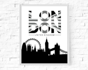 "Printable London Poster - Union Jack - Black, Grey and White Print - Instant Download - Contemporary  Wall Art - Typography - 8""x10"" and A4."