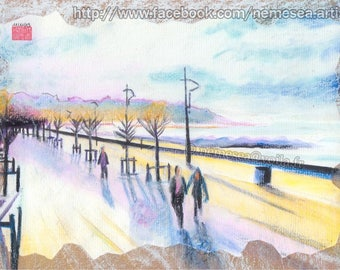 Original Beach Landscape Pastels PG97 Anglet Beach landscape drawing