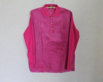 Pink Fucsia Sweater Pullover Romantic Cardigan Long Sleeve Blouse Top Large Size