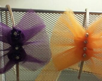Tulle flower or  minature bow headband