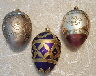 3 large Christmas egg ornaments
