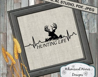 Hunting Life Heartbeat svg ,  hunting svg, heartbeat svg, digital download .studio3 file, svg, eps, ai, dxf, pdf files all included