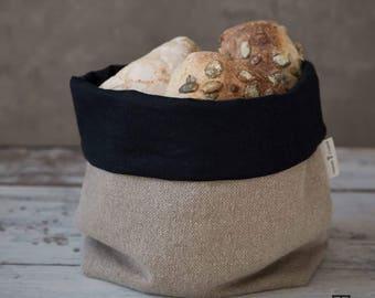 """Linen bread basket, natural raw grey linen bread basket natural- black storage bag, natural grey linen- white Tyvek storage basket 11,4x9,8"""""""