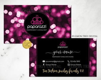 Paparazzi Business Cards, Free Personalized, Paparazzi Jewelry Consultant Cards, Bokeh, Black, Purple, Paparazzi Business Cards