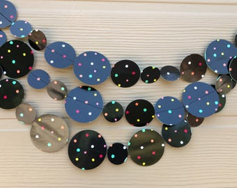 Black Polka Dot Garland/ Party Garland/ Paper garland/Black Shiny finish