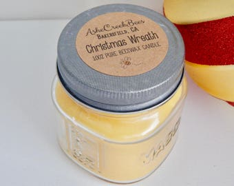 Christmas Wreath Scented 100% Pure Filtered Beeswax Candle