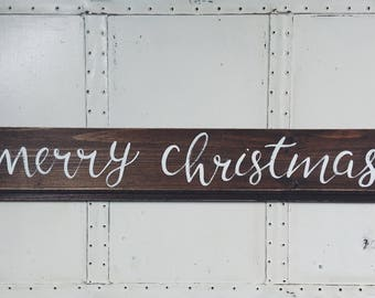 "Hand Painted ""Merry Christmas"" Shiplap Sign / Winter Decor / Christmas Decor / Winter Decorations / Christmas Sign / Shiplap Wooden Sign"