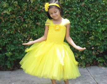 Belle Birthday Tutu Dress, Girls Yellow Party Dress, Birthday Tutu Outfit, Girls Halloween Costume