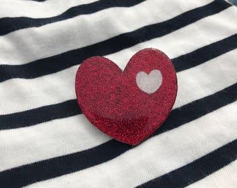 """Brooch """"heart in my heart"""" Red"""