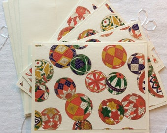 Note Cards with Envelopes, Set of 4, Blank Inside, Colorful Handmade Japanese Chiyogami Paper
