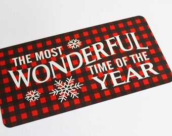 Christmas Sign - Most Wonderful Time Of The Year - Wreath Sign - Plaid Sign - Wreath Attachment