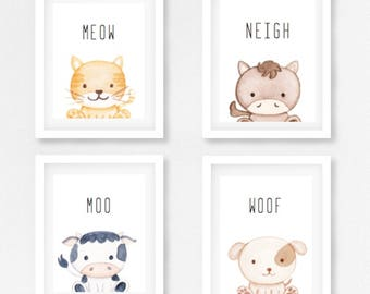 Set 4 Farm Animal Prints - Black and White or Grey images  - Changeable Characters