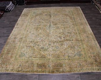Handmade Antique Washed Muted Kashan Persian Rug Oriental Area Carpet Sale 10X13