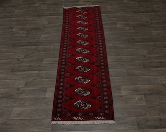 Beautiful Tribal Handmade Runner Turkoman Persian Rug Oriental Carpet 2ʹ6X9ʹ5