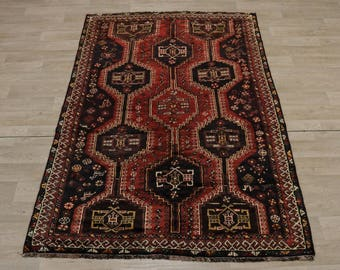 Semi Antique Handmade Geometric Shiraz Persian Rug Oriental Area Carpet 5X8