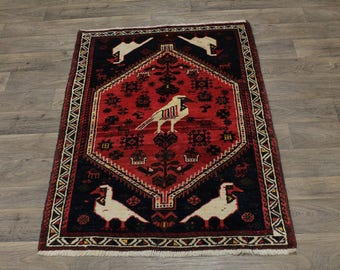 Stunning Rare Animal Design Shiraz Kashkoli Persian Rug Oriental Area Carpet 4X5