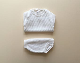 White knitted set - 6m
