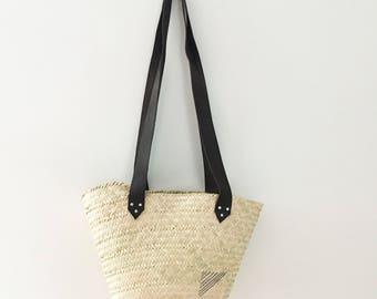Wicker Basket- Gaston Basket - upcycled leather-  Perfect Gift- Handmade