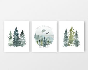 Boys Room Art Set of 3 Digital Art Prints Spruce Trees and Nature Watercolor Green and Mint Wall Art set Gallery Wall 8x10 JPG printables