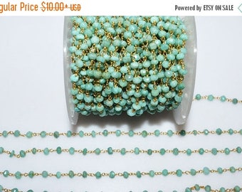 50% OFF Beautiful Amazonite Rosary Beaded Chain - Amazonite Wire Wrapped Beaded Chain , Sold By Foot , 3.75 - 4 mm - RB5536