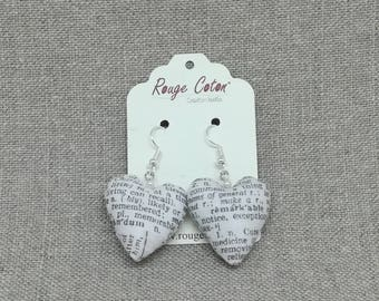 Earrings mini hearts newsprint fabric