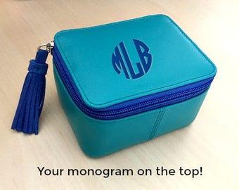 Monogrammed jewelry box • personalized jewelry case • travel jewelry box • jewelry case, leather gift box, travel organizer, wedding gift*