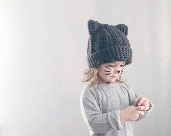 CAT HAT . hand crocheted beanie . ALL sizes .