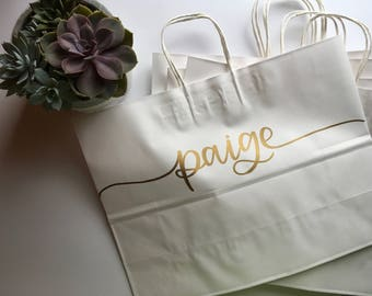 Personalized White Gift Bag | Kraft Hanger Gift Bag | Bridesmaid Gift Bag | Large Gift Bag | Bridesmaid Gift | Wedding Gift | Kraft Bag