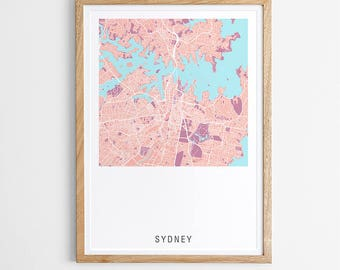 Sydney Contemporary Map Print - Various Colours / Australia / City Print / Australian Maps / Giclee Print / Poster / Framed