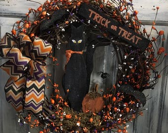 18 inch primitive country Halloween wreath
