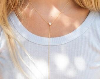Triple CZ - gold lariat - lariat necklace - cz necklace - y necklace - minimal necklace - gold y necklace - lariat - cz - choker - C15541