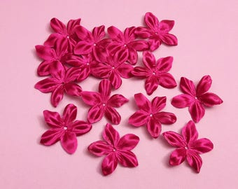 Satin flower fuchsia silk for jewelry, scrapbooking, card making, sewing individually