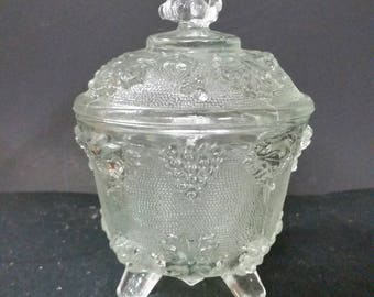 Vintage clear glass, lidded, 4 footed candy dish