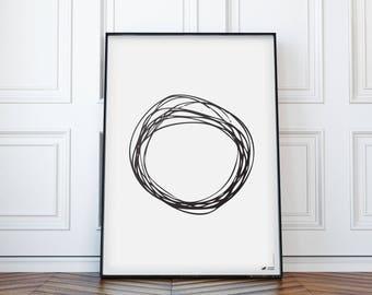 "Minimal Art Print |  Black and White | Modern poster | Handdrawn | WzoryKolory | ""Handdrawn circles 7"""