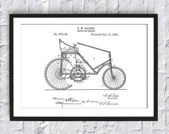 Engine 1896 - Engine Print - Engine Wall Art - Engine Patent - Vintage Engine - Art-386