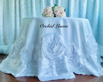 White Rosette Tablecloth
