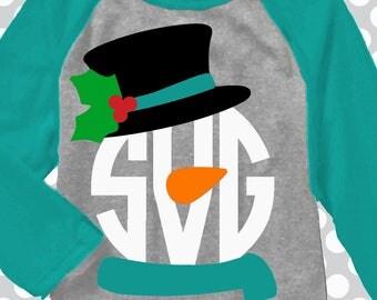 Snowman monogram SVG, Snowman svg, Snowman shirt, christmas svg, monogram svg, DXF, Christmas monogram sets,  iron on, digital