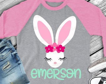 Easter svg, Bunny svg, eyelashes svg, Bunny Ears svg, Easter Bunny svg, Easter dxf, SVG, DXF, EPS, cut file, rabbit ears, bunny shirt, girl
