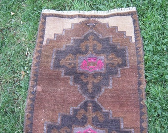 Turkish Rug 1x3 Brown Wool Pile Small Vintage Rug Hand Knotted Semi Antique Area Rug - ALVA0103
