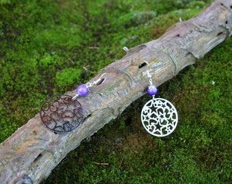 Boucles d'oreille Estampes étoilées et perle de verre 8mm violet vif foncé avec Tréfilé