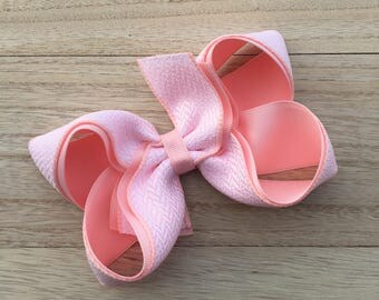 Blush hair bow, pink hair bow,  white and pink bows, easter hair bows, spring hair bows, summer hair bows