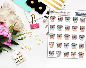 Kawaii Pug Camera Planner Stickers | for use with Erin Condren Lifeplanner™, Filofax, Personal, A5, Happy Planner