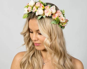 Bridal floral crown Bridal flower crown flower hair wreath Flower halo Bridesmaid flower crown wedding floral crown Wedding flower crown