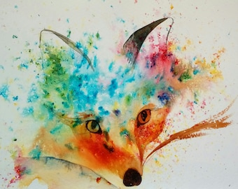 Foxy Fun original painting by Shari Hills. Brusho pigments and watercolour.